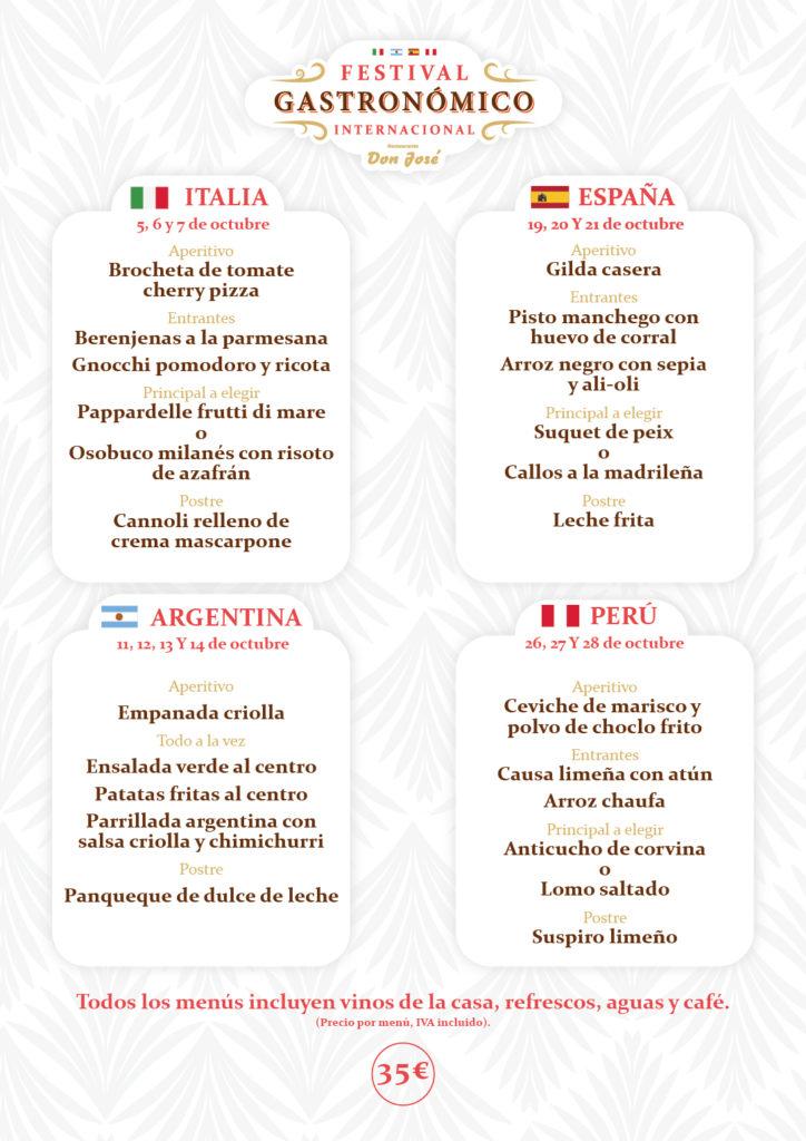 Menús del Festival Gastronómico Internacional Don José